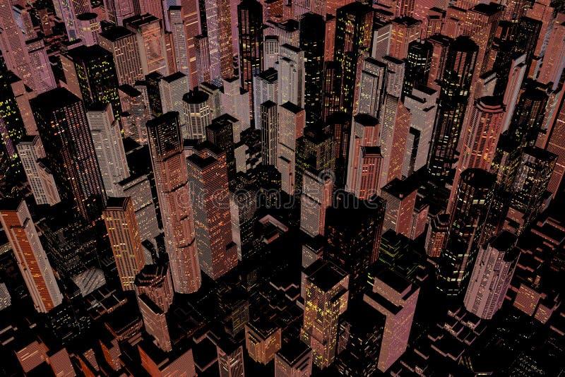 Illuminated downtown area of city