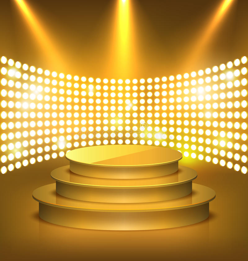 Illuminated Festive Golden Premium Stage Podium with Spot Lights.
