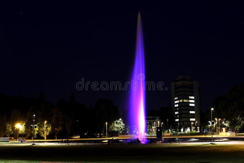 Illuminated Fountain In City Night Scene Free Public Domain Cc0 Image