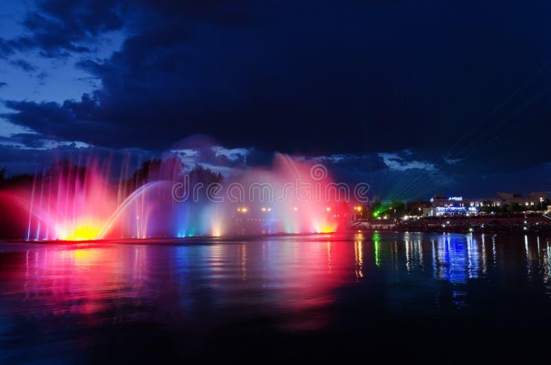 Illuminated fountain night. Urban night scene: illuminated light fountain in a park in Vinnitsa Ukraine stock photo