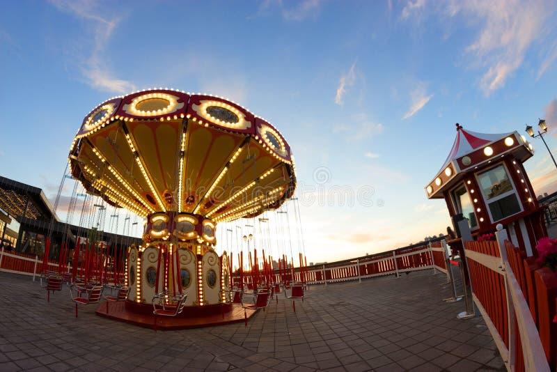 Illuminated french carousel stock photo