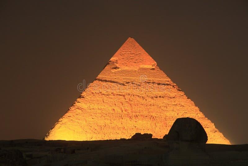 Illuminated Giza Pyramid, Egypt stock images