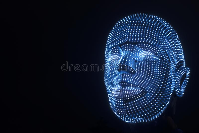 Illuminated head of robot royalty free stock images