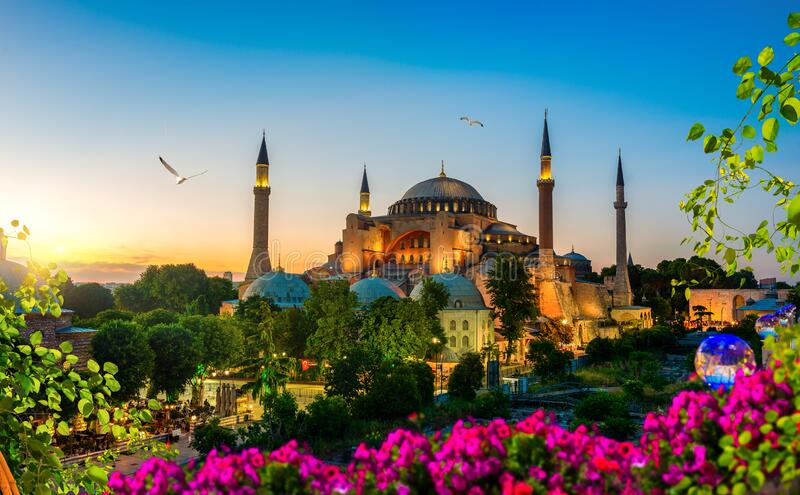 Hagia Sophia in summer evening royalty free stock image