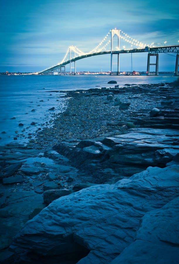 Illuminated jamestown bridge to newport. Rhode island stock photo