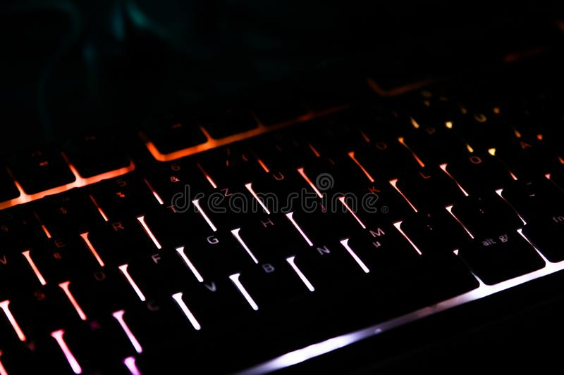 Illuminated keyboard for gaming PC stock photography