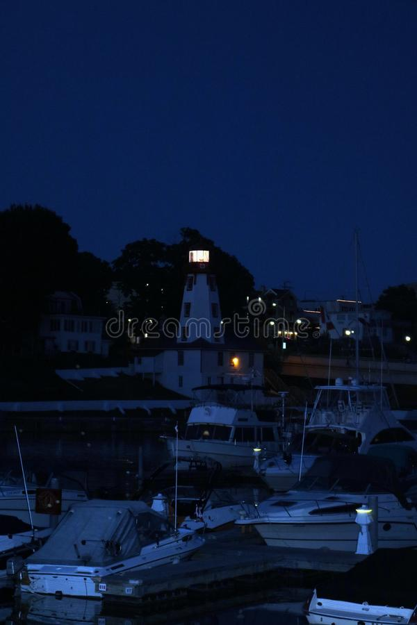 Lighthouse In Kincardine, Ontario At Night Stock Photo - Image of