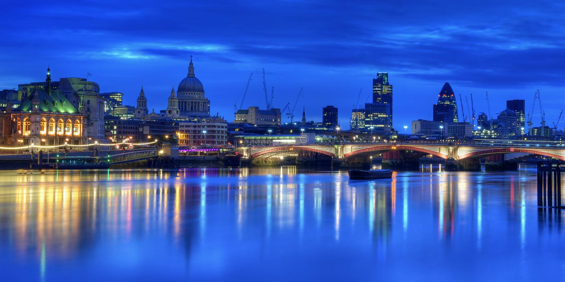 Illuminated London skyline royalty free stock photo