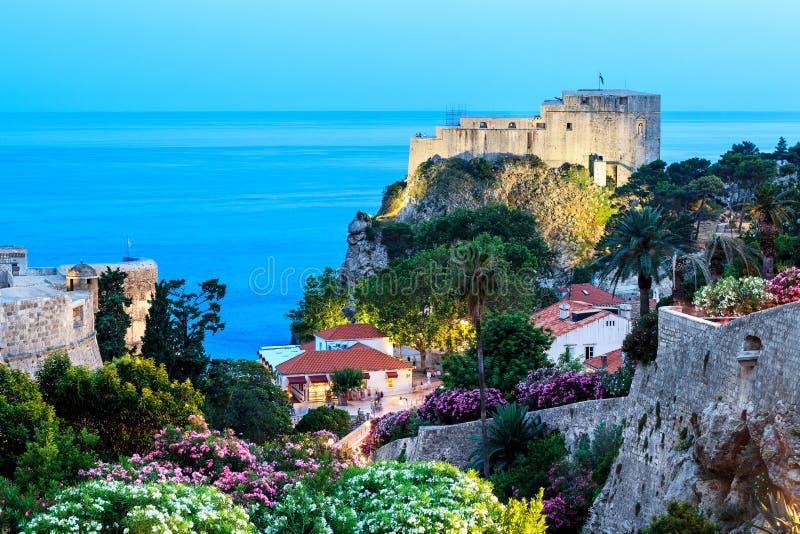 The illuminated Lovrijenac fortress in Dubrovnik stock photos