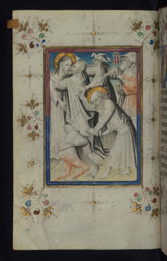 Illuminated Manuscript, Book of Hours, The Arrest of Christ, Walters Art Museum Ms. W.165, fol. 13v royalty free stock photos
