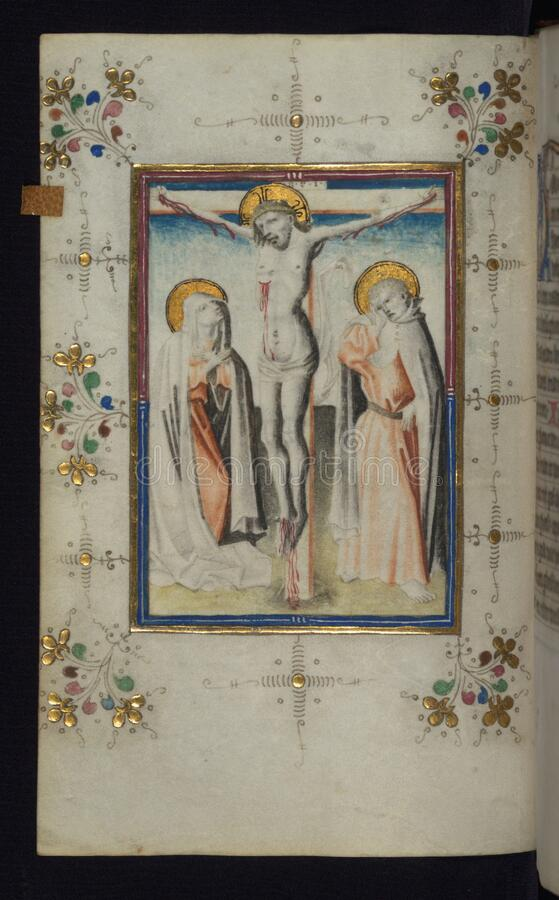 Illuminated Manuscript, Book of Hours, Crucifixion, Walters Art Museum Ms. W.165, fol. 23v stock images