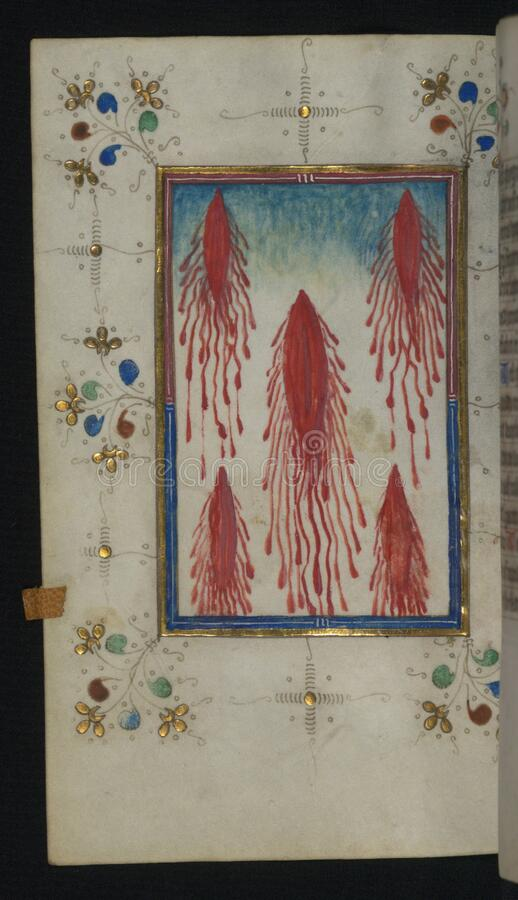 Illuminated Manuscript, Book of Hours, Five Wounds of Christ, Walters Art Museum Ms. W.165, fol. 110v stock photos
