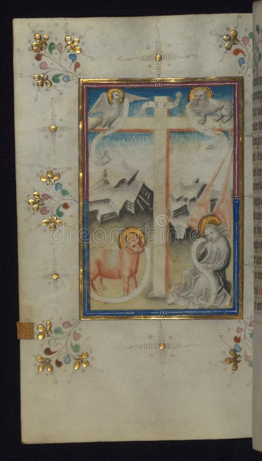 Illuminated Manuscript, Book of Hours, Holy Cross with Symbols of the four Evangelists, Walters Art Museum Ms. W.165, fol. 113v stock image