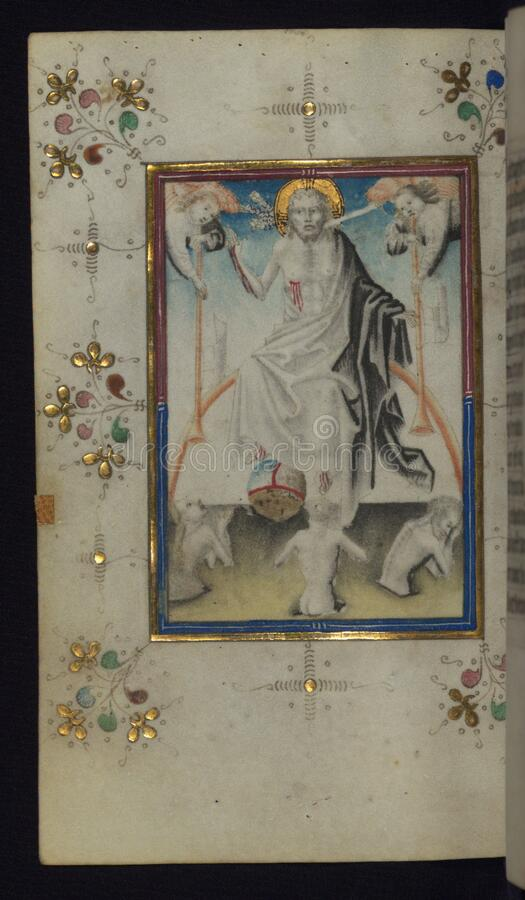Illuminated Manuscript, Book of Hours, Last Judgment, Walters Art Museum Ms. W.165, fol. 100v royalty free stock photography