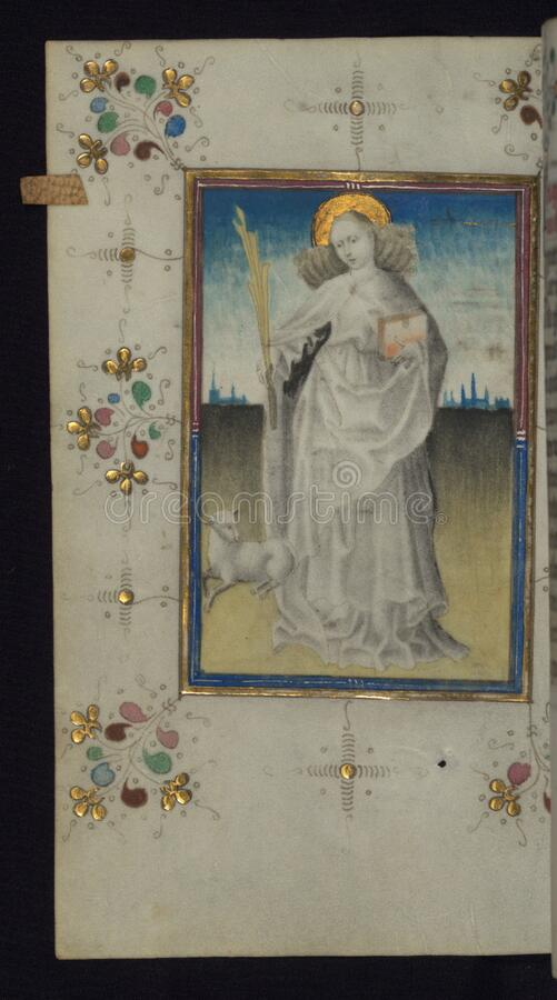 Illuminated Manuscript, Book of Hours, St. Agnes, Walters Art Museum Ms. W.165, fol. 125v royalty free stock image