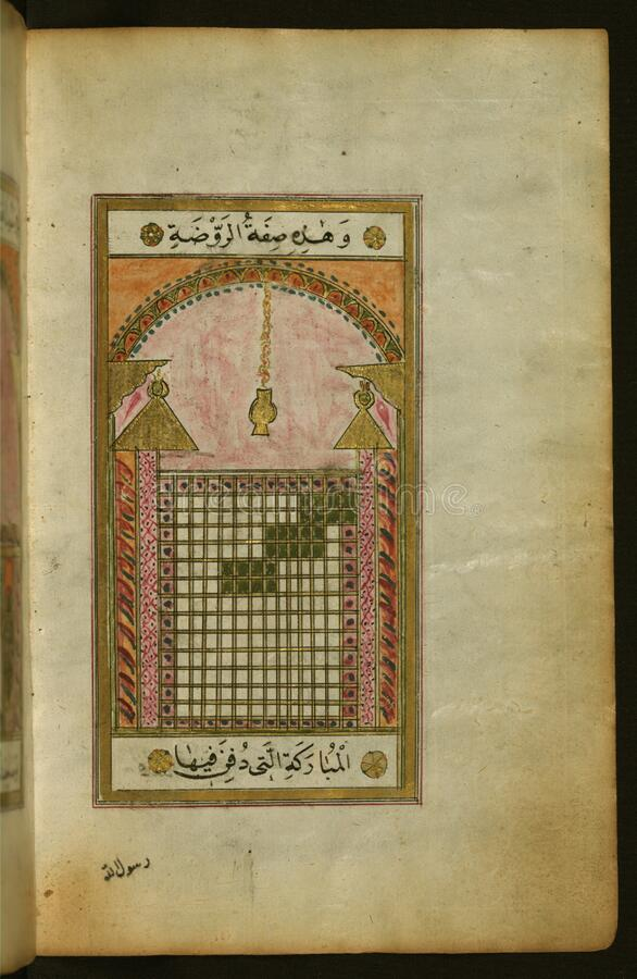 Illuminated Manuscript of Collection of prayers for the Prophet Muhammad, The right side of a double page composition featuring t stock photos