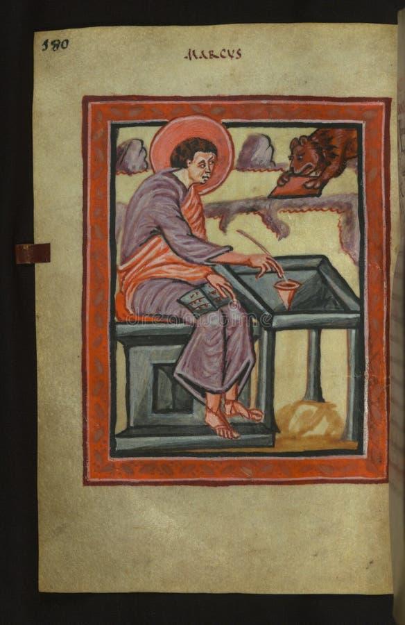 Illuminated Manuscript, Gospels of Freising, Evangelist Portrait of Mark, Walters Art Museum Ms. W.4, fol. 90v royalty free stock photography