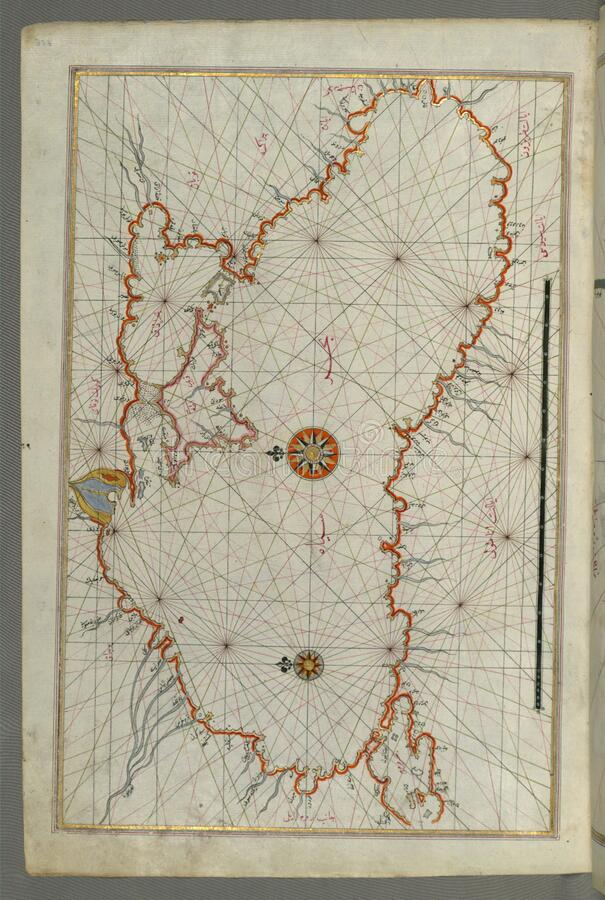 Illuminated Manuscript, Map of the Black Sea coastline from Book on Navigation, Walters Art Museum Ms. W.658, fol.373a stock images