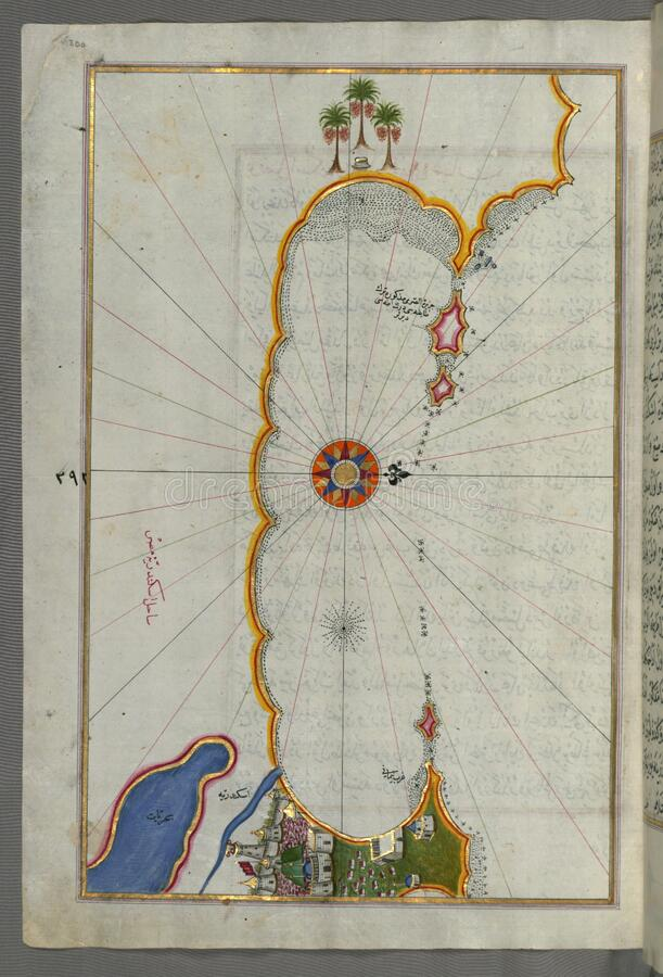 Illuminated Manuscript, Map of the coast of Alexandria (Iskandarīyah) showing a portion of the town itself from Book on royalty free stock photo