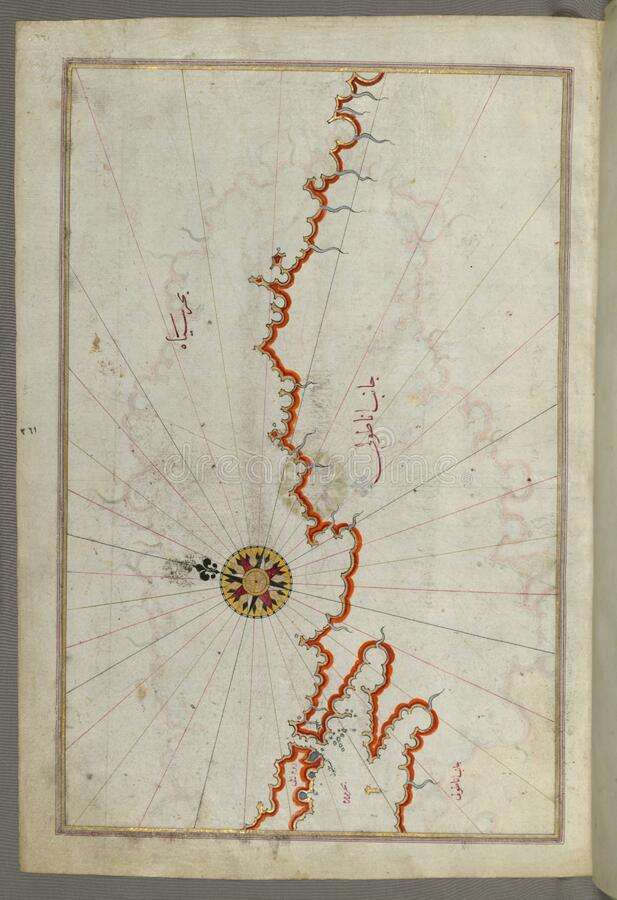 Illuminated Manuscript, Map of the coast of the Black Sea from Istanbul to Geresun from Book on Navigation, Walters Art Museum Ms. royalty free stock photos