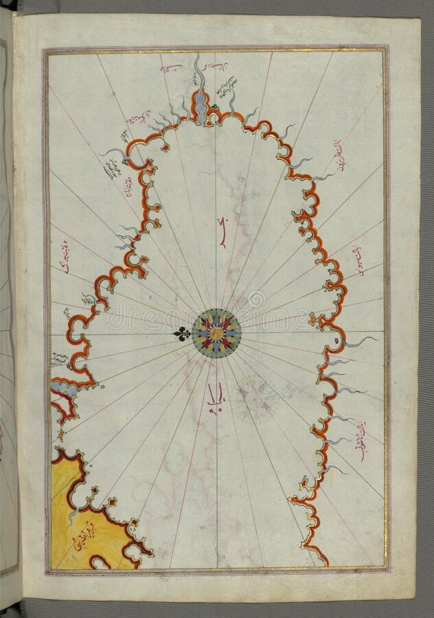 Illuminated Manuscript, Map of the coast line of the Black Sea from Book on Navigation, Walters Art Museum Ms. W.658, fol.371b stock image