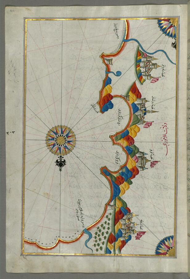 Illuminated Manuscript, Map of eastern coast of Calabria around Rossano from Book on Navigation, Walters Art Museum Ms. W.658, fol stock images