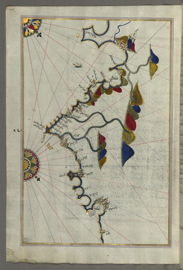 Illuminated Manuscript, Map of the French coast from the Italian border as far as Nice (NÄ«se) from Book on Navigation, stock photo