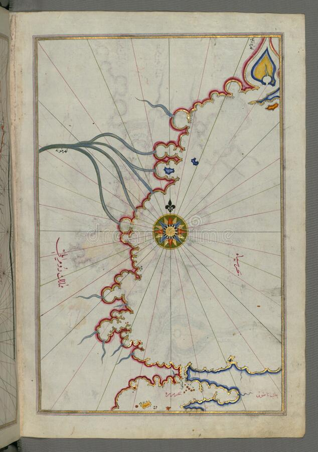 Illuminated Manuscript, Map of Sea of Marmara, Bosporus strait and the Black Sea from Book on Navigation, Walters Art Museum Ms. W stock photography