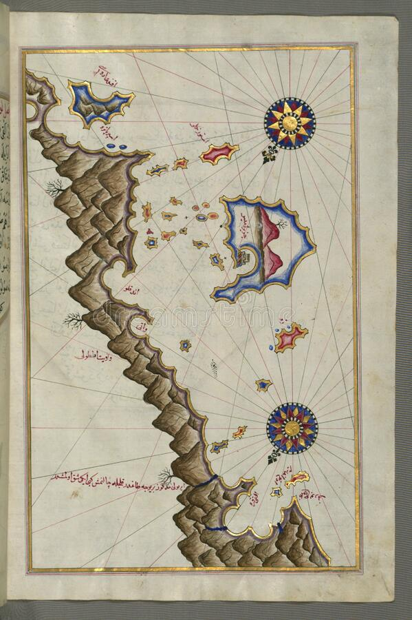 Illuminated Manuscript, Map of some unidentified islands off the southern Anatolian coast from Book on Navigation, Walters Art Mu stock photos
