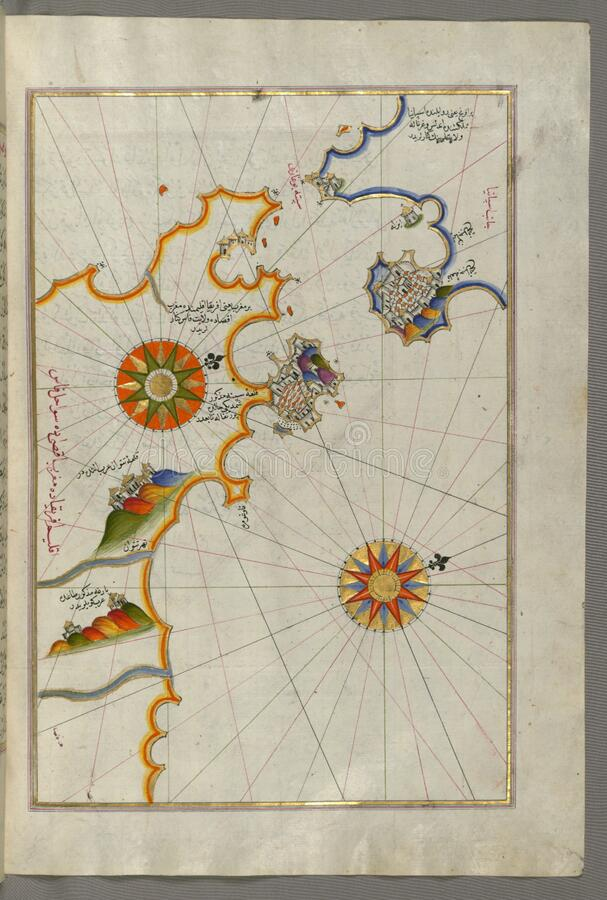 Illuminated Manuscript, Map of Southern Spain and Morocco with the cities of Gibraltar (Jabal-i Fatḥ), Ceuta (Sap stock photography