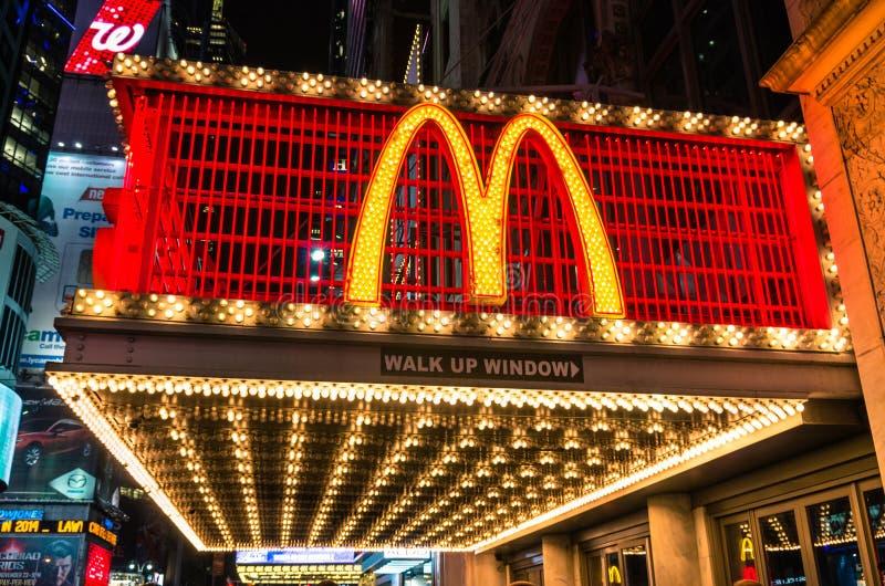 Illuminated Mc Donalds neon sign stock images