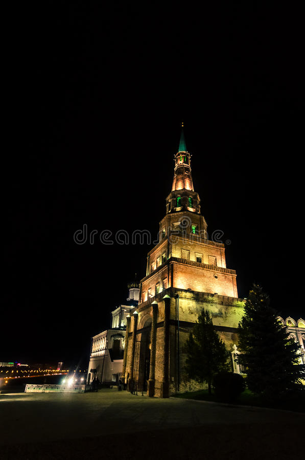 Illuminated monumental tower royalty free stock photography