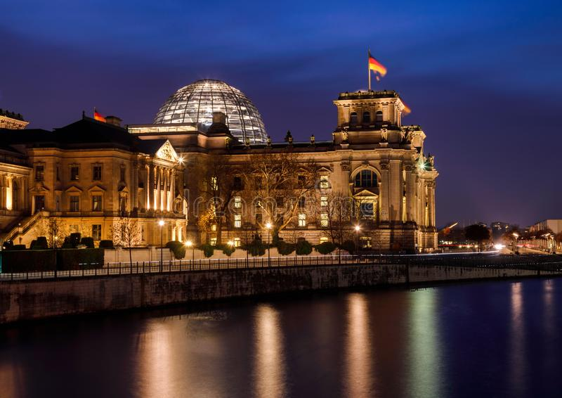 Berlin cityscape with Reichstag building at night Central Berlin Germany royalty free stock photography