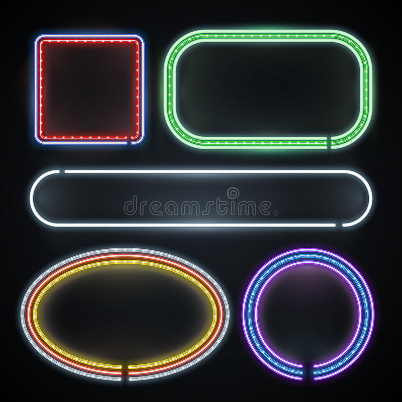 Illuminated neon borders, empty frame signs, new year, casino, party decoration vector set royalty free illustration
