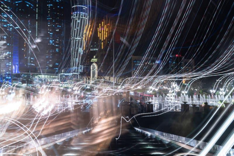 The Illuminated night city concept in Abu Dhabi, UAE royalty free stock photography