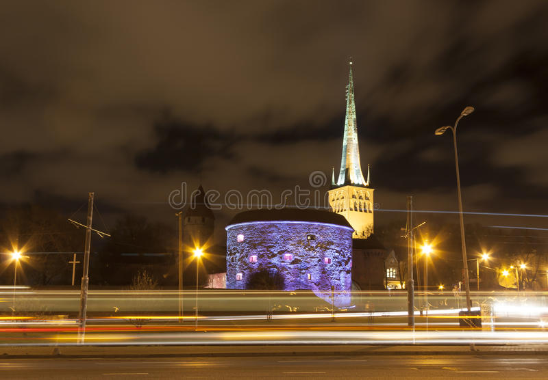 Illuminated Old Town of Tallinn, Estonia royalty free stock images