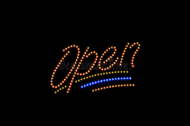 Download Illuminated Open neon sign stock image. Image of bright - 22257583