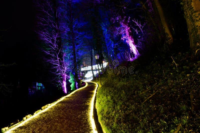 Illuminated parkerar i Zagreb, Kroatien under festival av ljus arkivfoton