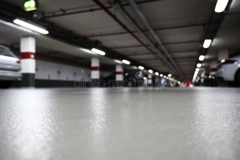 Illuminated parking garage royalty free stock images