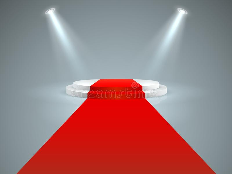 Illuminated podium. Floor red carpet to white podium, spotlights. Hollywood movie premiere, vip celebrity lifestyle stock illustration