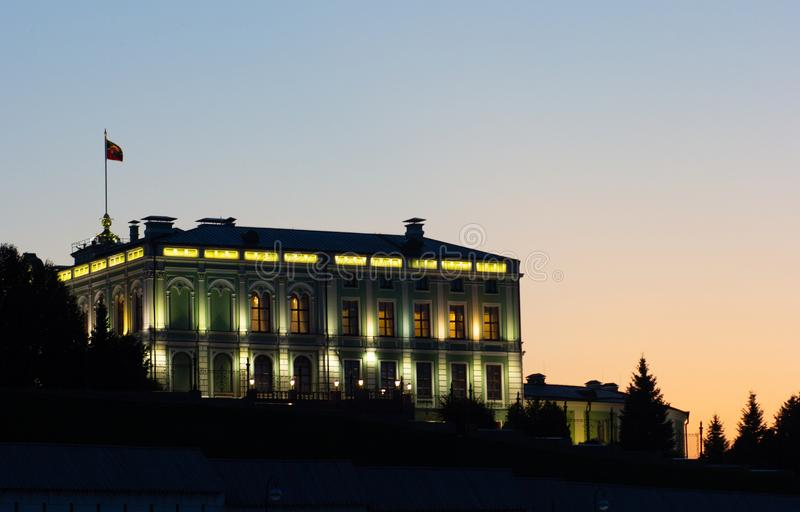 Illuminated Presidential Palace in the Kazan Kremlin in Russia in the evening royalty free stock photo