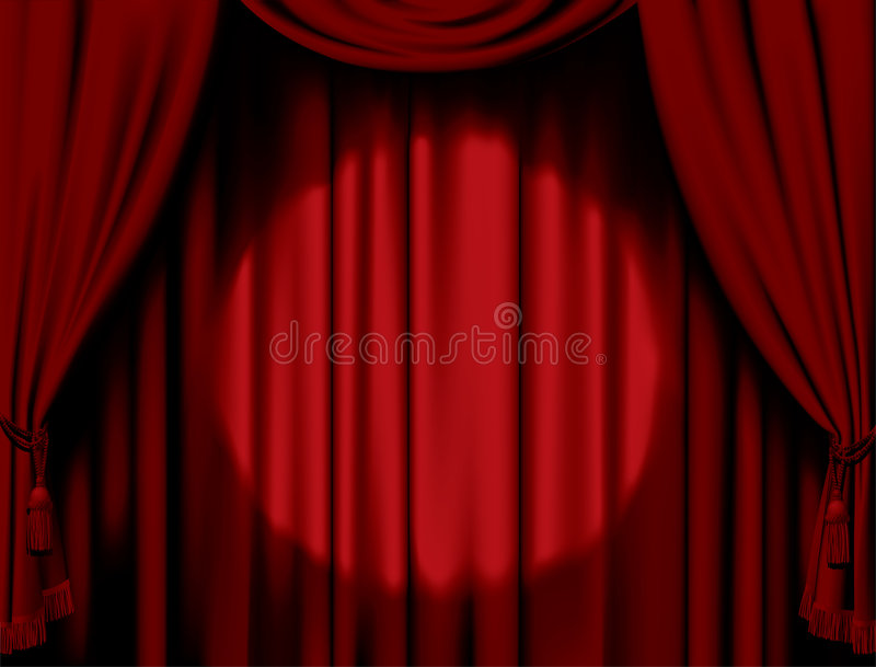 Download Illuminated red curtain stock vector. Illustration of home - 8098398