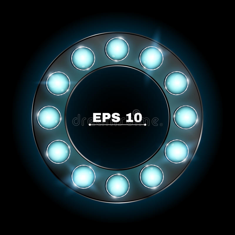 Illuminated round advertising banner made of blue neon bulbs. The theme of the casino and various show programs. Realistic royalty free illustration