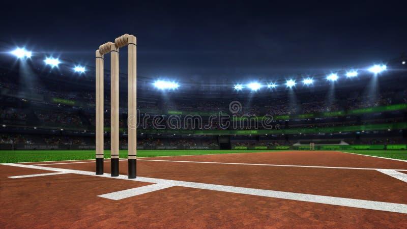 Illuminated round cricket stadium at night with wooden wickets closeup royalty free illustration