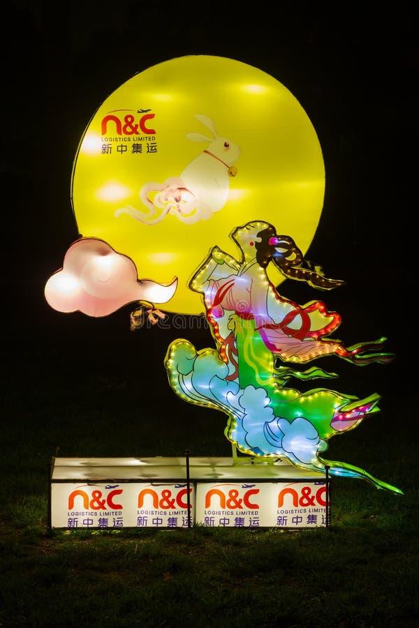 Illuminated sculpture of Chinese moon goddess Chang`e stock photo