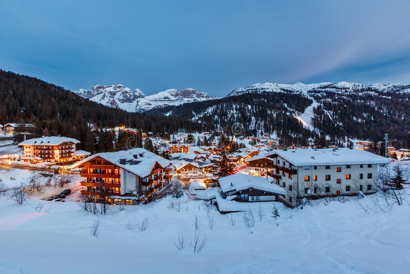 Illuminated Ski Resort of Madonna di Campiglio in the Evening royalty free stock photo