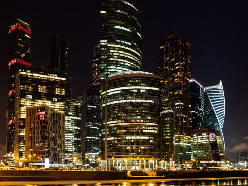 Illuminated skyscrapers in Moscow City at night stock photo