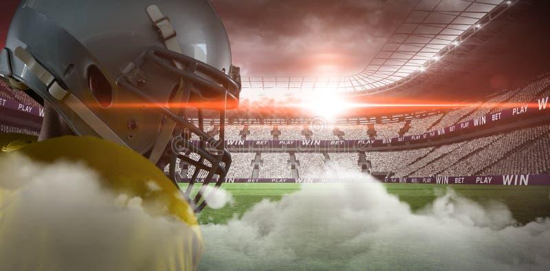 Illuminated soccer stadium stock illustration