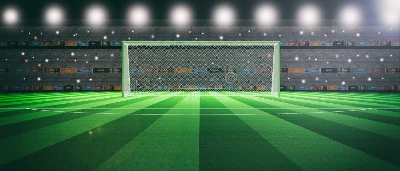 Illuminated soccer stadium at night. 3d illustration royalty free illustration