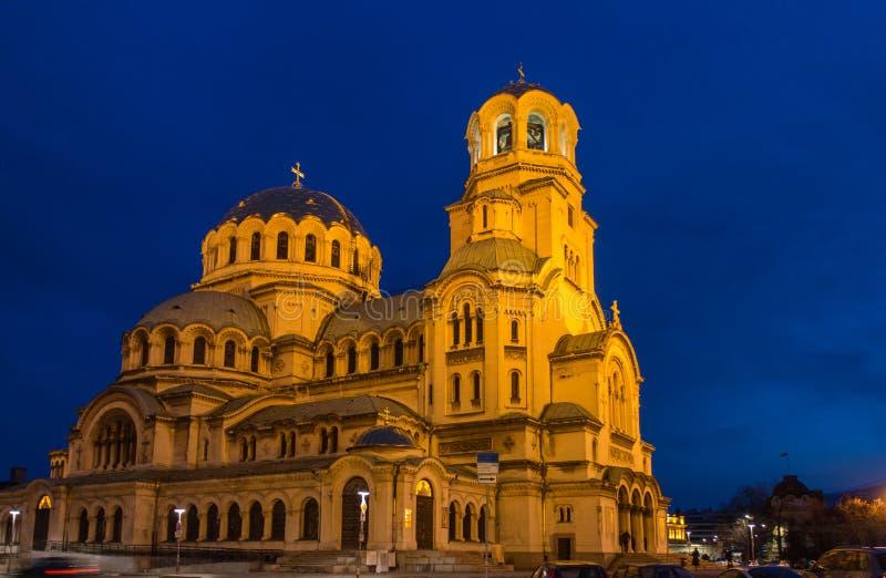 Illuminated St. Alexander Nevski Cathedral in Sofia, Bulgaria. Night view of illuminated Saint Alexander Nevski Cathedral in central Sofia, capital of Bulgaria stock images